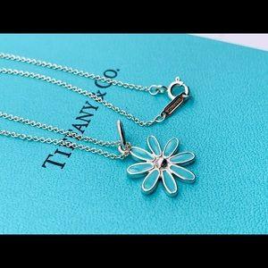 Tiffany & Co Blue Enamel Daisy Charm Necklace